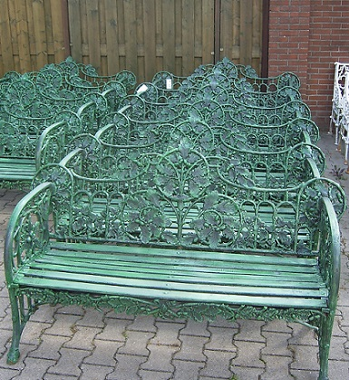 Garden Cast Iron Bench Green The Conservatory